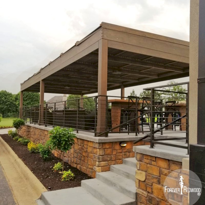 """Modern Louvered Garden Pergola (Options: 44' L x 18' W, 8"""" x 8"""" Posts, Mobile Louvers, Douglas-fir, 10 ft H, No Electrical Wiring Trim, 4 Curtain Rods, 6 Post Anchor Kit for Concrete, With Clear Polycarbonate Roofing Atop Pergola Framing by Custom Request, No Post Decorative Trims, No Ceiling Fan Bases, Coffee-Stain Premium Sealant). Photo Courtesy of M. Hudson of Rogers, Arkansas."""