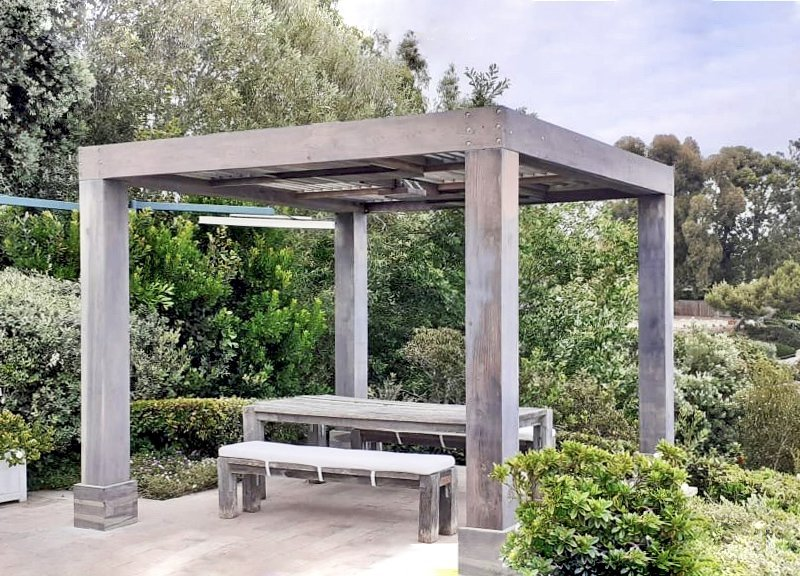 """Custom Modern Louvered Garden Pergola (Options: 12' L x 10' W, 10"""" x 10"""" Posts, Mobile Louvers, California Redwood, 9 ft H, 1 Electrical Wiring Trim, No Curtain Rods, 4 Post Anchor Kit for Concrete, 1 Ceiling Fan Base, Custom """"Weathered Finish"""" by Custom Request is Lifetime Wood Treatment-Valhalco). Photo Courtesy of O. Case of Malibu, California."""