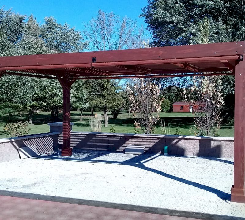 """Modern Louvered Garden Pergola (Options: 20' L x 12' W, 8"""" x 8"""" Posts, Mobile Louvers, California Redwood, 9.5 ft H, No Electrical Wiring Trim, 4 Curtain Rods, 4 Post Anchor Kit for Concrete, No post decorative trims, No Ceiling Fan Base, Coffee-Stain Premium Sealant). Photo Courtesy of R. RybarskI of Palos Park, Illinois."""