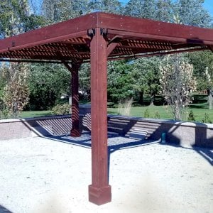 "Modern Louvered Garden Pergola (Options: 20' L x 12' W, 8"" x 8"" Posts, Mobile Louvers, Redwood, 9.5 ft H, No Electrical Wiring Trim, 4 Curtain Rods, 4 Post Anchor Kit for Concrete, No post decorative trims, No Ceiling Fan Base, Coffee-Stain Premium Sealant). Photo Courtesy of R. RybarskI of Palos Park, Illinois."