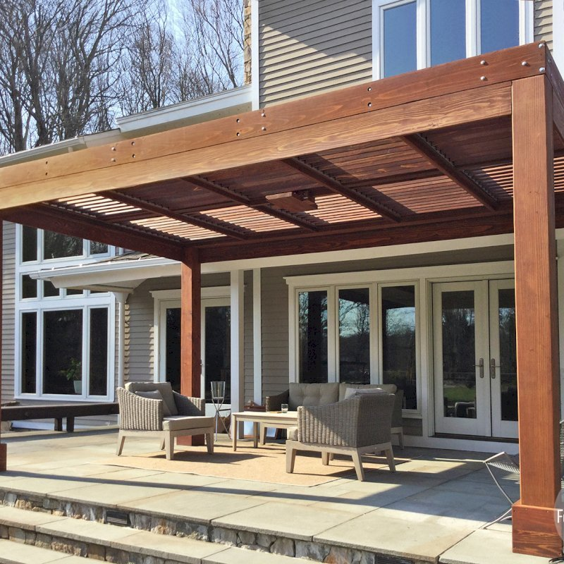 """Modern Louvered Garden Pergola (Options: 10' L x 17' W, 8"""" x 8"""" Posts, Mobile Louvers, California Redwood, 9 ft H, No Electrical Wiring Trim, 4 Post Anchor Kit for Concrete, No post decorative trims, With a Ceiling Fan Base, Coffee-Stain Premium Sealant). Photo Courtesy of A. Gree of Redding, CT."""