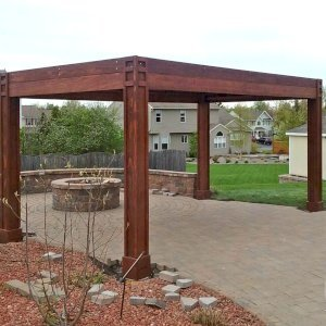 "Modern Louvered Garden Pergola (Options: 10' L x 18' W, 8"" x 8"" Posts, Mobile Louvers, Mature Redwood, 9 ft H, 2 Electrical Wiring Trims, 4 Post Anchor Kit for Concrete, Custom Vertical Post Decorative Trims, No Ceiling Fan Base, Coffee-Stain Premium Sealant). Photo Courtesy of D. Gauthier of Liverpool, NY."