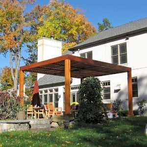 "Modern Louvered Garden Pergola (Options: 18' L x 14' W, 8"" x 8"" Posts, Mobile Louvers, Redwood, 9ft H, No Electrical Wiring Trim, 4 Post Anchor Kit for Stone, brick or Concrete, No post decorative trims, No Ceiling Fan Base, No Curtain Rods, Transparent Premium Sealant). Photo Courtesy of P. Falla of Putnam Valley, NY."