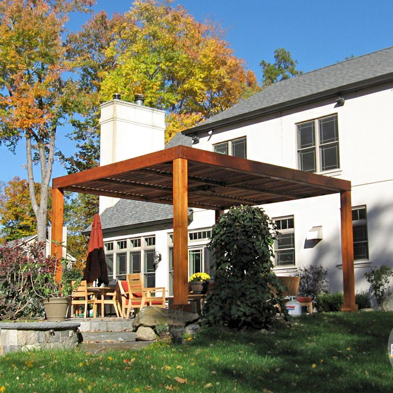 """Modern Louvered Garden Pergola (Options: 18' L x 14' W, 8"""" x 8"""" Posts, Mobile Louvers, California Redwood, 9ft H, No Electrical Wiring Trim, 4 Post Anchor Kit for Stone, brick or Concrete, No post decorative trims, No Ceiling Fan Base, No Curtain Rods, Transparent Premium Sealant). Photo Courtesy of P. Falla of Putnam Valley, NY."""