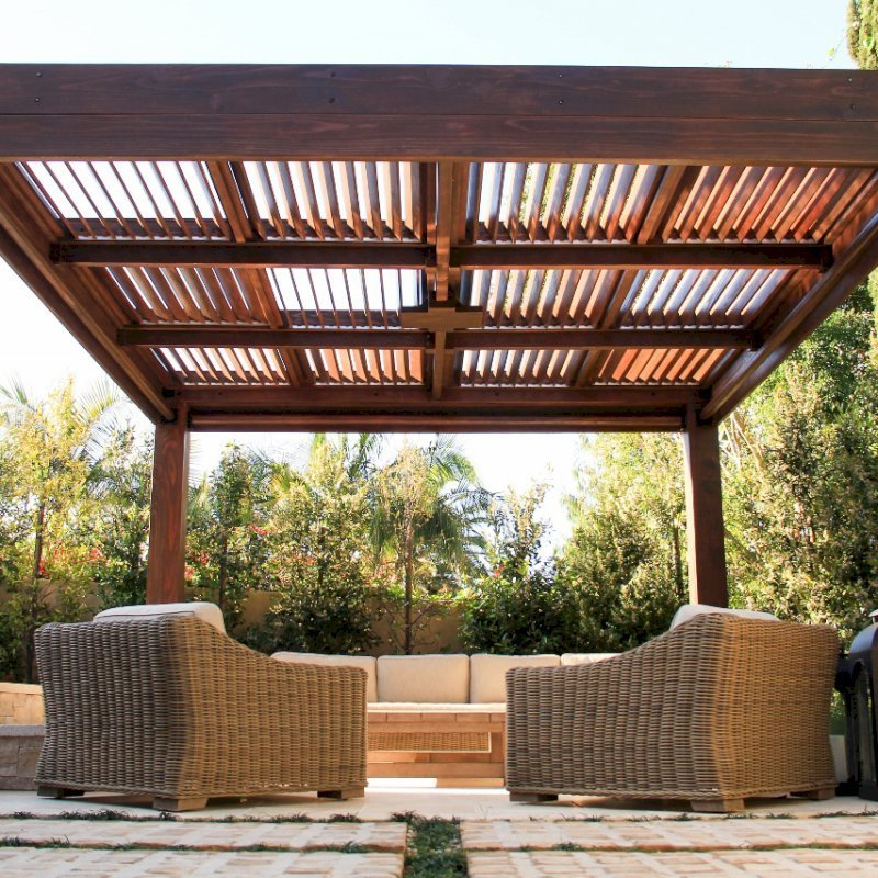 """Modern Louvered Garden Pergola (Options: 16' L x 16' W, 10"""" x 10"""" Posts, Mobile Louvers, California Redwood, 9.5ft H, Electrical Wiring Trim for 1 Post, 4 Post Anchor Kit for Concrete, No post decorative trims, Add a Ceiling Fan Base, 4 Curtain Rods, Coffee Stain Sealant). Photo Courtesy of S. Gillin of Del Mar, CA."""