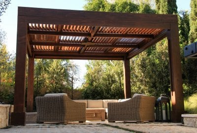 Modern Louvered Garden Pergola - Garden Pergola Kits Handcrafted From Redwood Free Shipping