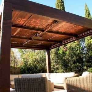"Modern Louvered Garden Pergola (Options: 16' L x 16' W, 10"" x 10"" Posts, Mobile Louvers Redwood, 9.5ft H, Electrical Wiring Trim for 1 Post, 4 Post Anchor Kit for Concrete, No post decorative trims, Add a Ceiling Fan Base, 4 Curtain Rods, Coffee Stain Sealant). Photo Courtesy of S. Gillin of Del Mar, CA."