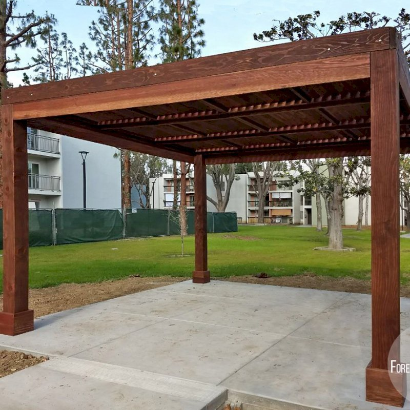 """Modern Louvered Garden Pergola (Options: 14' L x 14' W, 8"""" x 8"""" Posts, Fixed Louvers, California Redwood, 9.5 ft H, No Electrical Wiring Trim, 4 Post Anchor Kit for Concrete, No post decorative trims, With a Ceiling Fan Base, Coffee-Stain Premium Sealant). Photo Courtesy of M. Ramirez of Long Beach, CA."""