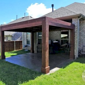 """Modern Louvered Garden Pergola (Options: 16' L x 12' W, 10"""" x 10"""" Posts, Mobile Louvers, California Redwood, 9 ft H, 1 Electrical Wiring Trim, No Curtain Rods, 4 Post Anchor Kit for Concrete, No Post Decorative Trims, 1 Ceiling Fan Base, Coffee Stain Premium Sealant). Photo Courtesy of G. Moore of Wylie, Texas."""