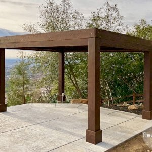 "Modern Louvered Garden Pergola (Options: 16' L x 12' W, 10"" x 10"", Fixed Louvers, Douglas-fir, 9.5 ft H, No Electrical Wiring Trim Kit, 4 Post Anchor Kit for Concrete, No Post Decorative Trims, No Ceiling Fan Base, 4 Curtain Rods, Coffee Stain Sealant). Photo Courtesy of R. McCan of El Dorado Hills, CA."