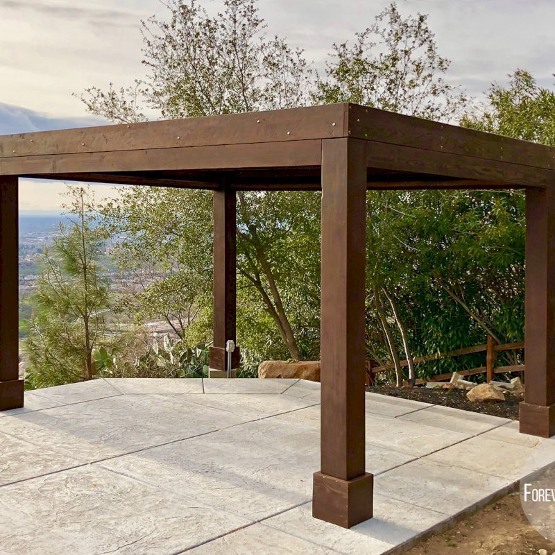 """Modern Louvered Garden Pergola (Options: 16' L x 12' W, 10"""" x 10"""", Fixed Louvers, Douglas-fir, 9.5 ft H, No Electrical Wiring Trim Kit, 4 Post Anchor Kit for Concrete, No Post Decorative Trims, No Ceiling Fan Base, 4 Curtain Rods, Coffee Stain Sealant). Photo Courtesy of R. McCan of El Dorado Hills, CA."""