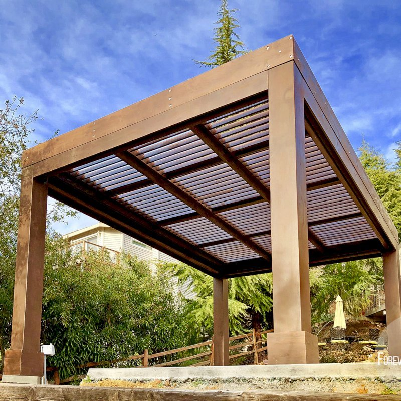 """Modern Louvered Garden Pergola (Options: 16' L x 12' W, 10"""" x 10"""", Fixed Louvers, Douglas-fir, 9.5 ft H, No Electrical Wiring Trim Kit, 4 Post Anchor Kit for Concrete, No Post Decorative Trims, No Ceiling Fan Base, 4 Curtain Rods, Coffee Stain Sealant). Photo Courtesy of R. McCan of El Dorado Hills, CA"""