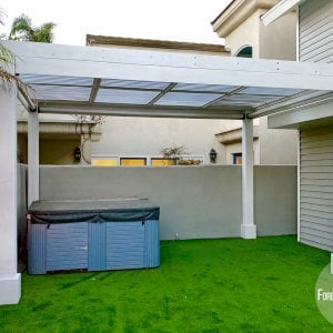 """Modern Louvered Garden Pergola (Options: 16' L x 10' W, 8"""" x 8"""" Posts, Mobile Louvers, California Redwood, 10 ft H, No Electrical Wiring Trim, 4 Curtain Rods, 4 Post Anchor Kit for Concrete, No post decorative trims, No Ceiling Fan Base, Off-White Oil-Based Primer). Photo Courtesy of M. Mckinnon of Newport Beach, California."""