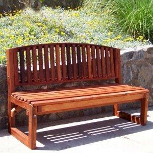 Moonlight Bench (Options: 5 ft, No Shelf, Mature Redwood, No Cushion, No Engraving, Transparent Premium Sealant).
