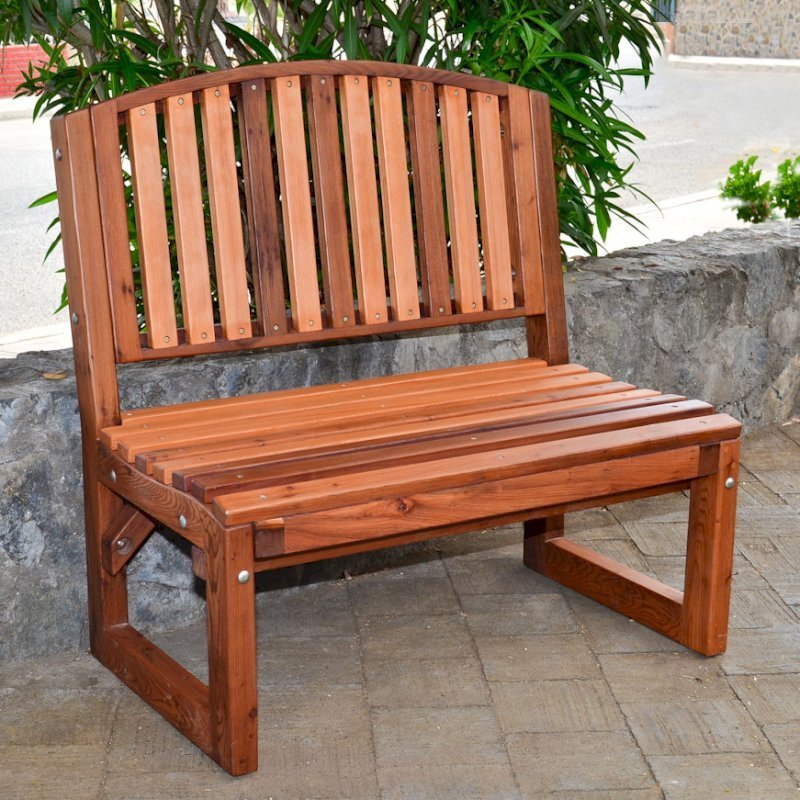 Moonlight Bench (Options: 3 ft, No Shelf, Old-Growth Redwood, No Cushion, No Engraving, Transparent Premium Sealant).