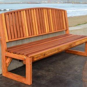 Moonlight Bench (Options: 6 ft, No Shelf, California Redwood, No Cushion, No Engraving, Transparent Premium Sealant).
