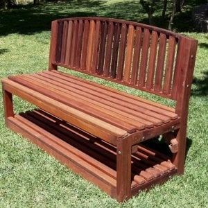 Moonlight Bench (Options: 5 ft, Add a Shelf, Old-Growth Redwood, No Cushion, No Engraving, Transparent Premium Sealant).