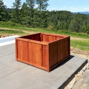 "Napa Planters (Options: 36"" L x 36"" W x 24"" H, Mature Redwood, With 1-inch feet, No Trellis, No Growing Vegetables, Transparent Premium Sealant). Photo Courtesy of J. Scott of Coeur deline, Idaho."