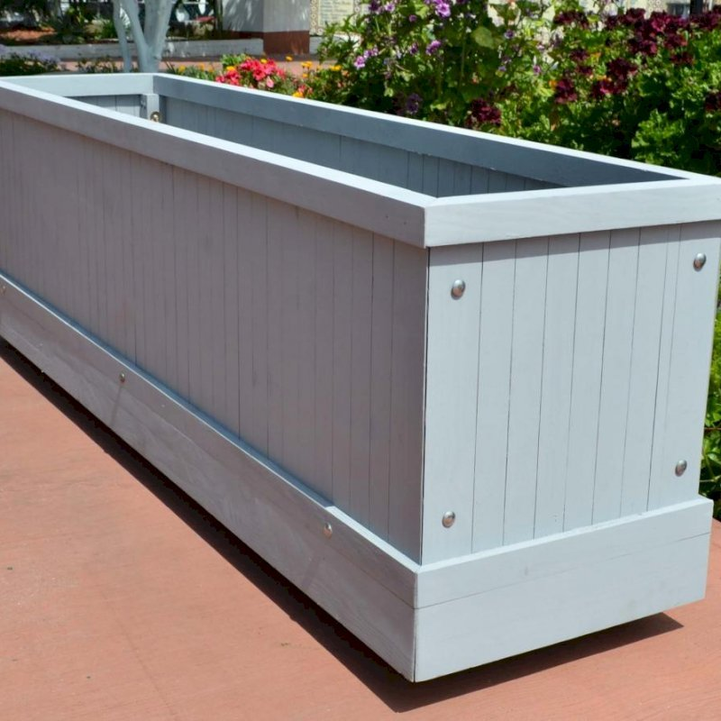 """Napa Planter (Options: 72"""" L x 18"""" W x 18"""" H, Douglas-fir, No Base, Casters (Special Request), No Trellis, No Growing Vegetables, Gray Primer). Includes optional trim to hide most of casters from view"""