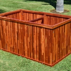 "Napa Planter (Options: 60"" L x 36"" W x 30"" H, Mosaic Eco-Wood, No Base or Casters, No Trellis, No Growing Vegetables, Transparent Premium Sealant)."