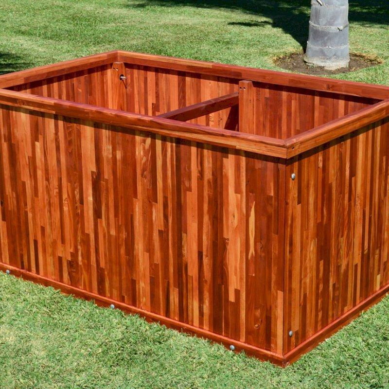 "Napa Planter (Options: 60"" L x 36"" W x 30"" H, Mosaic Eco-Wood, No Base or Casters, No Trellis, No Growing Vegetables, Transparent Premium Sealant)."