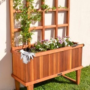 "Napa Planter (Options: 48"" L x 18"" W x 18"" H, Redwood, 12-inch stand, 3' tall Trellis Kit, No Growing Vegetables, Transparent Premium Sealant)."