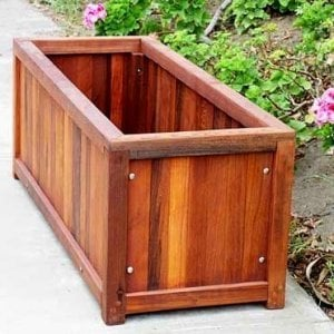 "Napa Planter (Options: 48"" L x 18"" W x 18"" H, Mature Redwood, 1 inch Feet, No Trellis, No Growing Vegetables, Transparent Premium Sealant)."