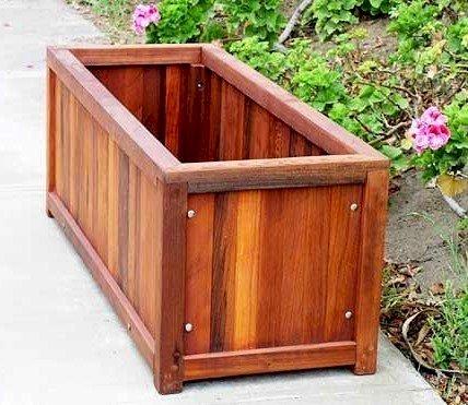 "Napa Planter (Options: 48"" L x 18"" W x 18"" H, Mature Redwood, 1 inch Feet, No Trellis, No Growing Vegetables, Transparent Premium Sealant)."