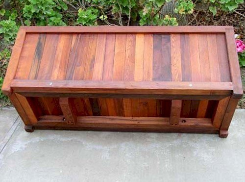 """Napa Planter (Options: 48"""" L x 18"""" W x 18"""" H, Mature Redwood, Add 1 inch feet, No Trellis, No Growing Vegetables, Transparent Premium Sealant). Turned on side to show supports and structural reinforcment from below."""