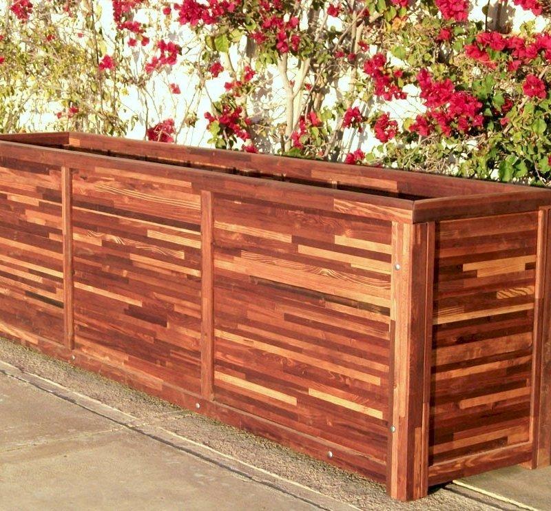 "Napa Planter (Options: 120"" L x 24"" W x 30"" H, Mosaic Eco-Wood, 1 inch Feet, No Trellis, No Growing Vegetables, Transparent Premium Sealant)."