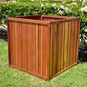 "Napa Planter (Options: 48"" L x 48"" W x 48"" H, Redwood, No Base or Casters, No Trellis, No Growing Vegetables, Transparent Premium Sealant)."