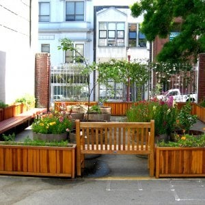 "Napa Planter (Options: 60"" L x 18"" W x 24"" H, Redwood, Add 1 inch feet, No Trellis, No Growing Vegetables, Transparent Premium Sealant). Photo Courtesy of School John Yehall Chin of San Francisco."