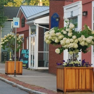 "Napa Planters (Options: 30"" L x 30"" W x 30"" H, Redwood, With 1-inch feet, No Trellis, No Growing Vegetables, Transparent Premium Sealant). Thank you to the Village of Scottsville, NY for this lovely photo."
