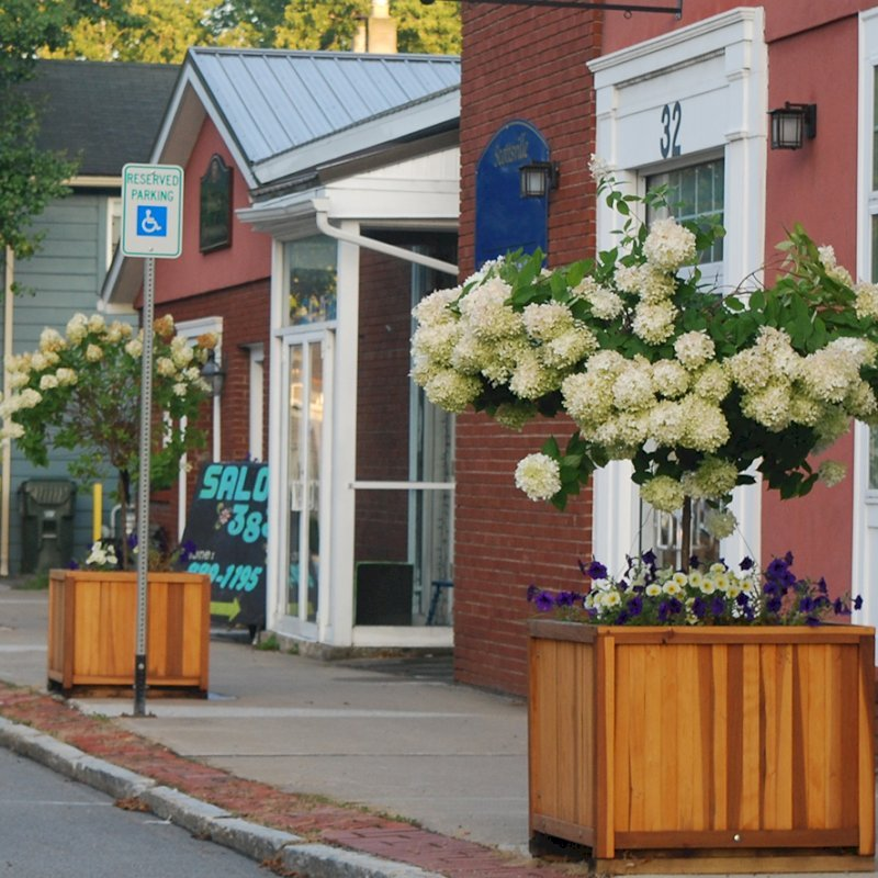 """Napa Planters (Options: 30"""" L x 30"""" W x 30"""" H, California Redwood, With 1-inch feet, No Trellis, No Growing Vegetables, Transparent Premium Sealant). Thank You to the Village of Scottsville, NY for This Lovely Photo."""