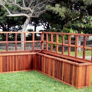 TRELLIS OPTION: Photo shows 2 ft tall trellis on custom sized L-Shaped Napa Planter. Trellis can be ordered for any size box. Trellis can be up to 5 ft tall.