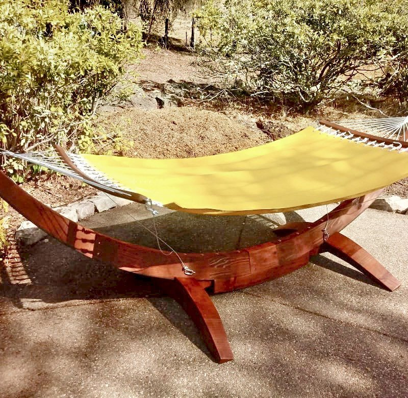 Noah's Arc Hammock (Options: Mature Redwood, Hammock with the Safety Cords Hardware, Coffee-Stain Premium Sealant). Photo Courtesy of M. Tripier of Walnut Creek, CA.