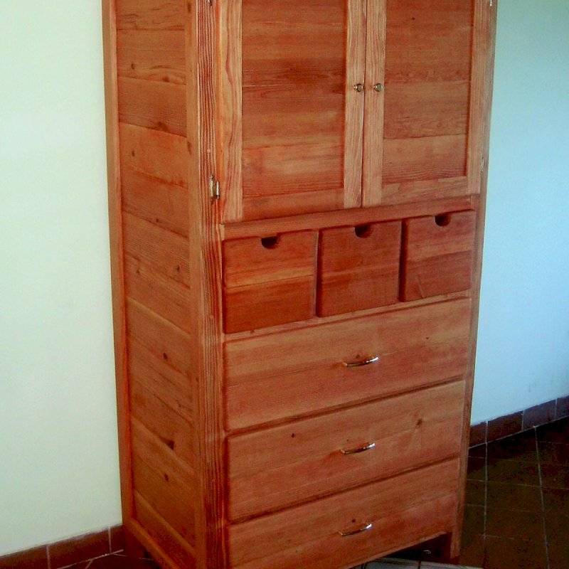 Norma's Dresser (Options: Mature Redwood, Add Removable Shelf, Transparent Premium Sealant).
