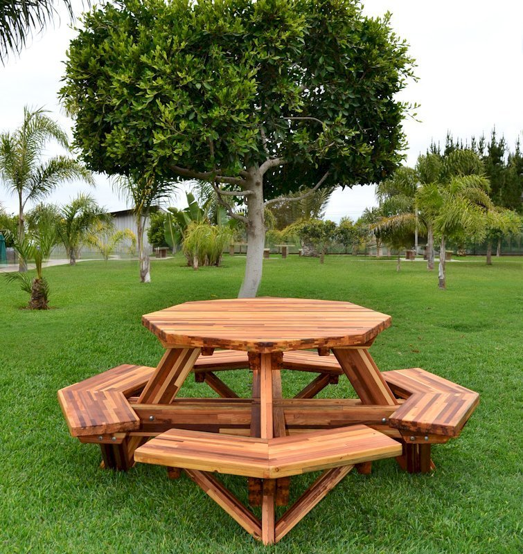 Octagonal Picnic Table (Options: 4' Diameter Tabletop, Attached Benches, Mosaic Eco-Wood, Standard Tabletop, Rounded Corners, No Umbrella Hole, Transparent Premium Sealant).