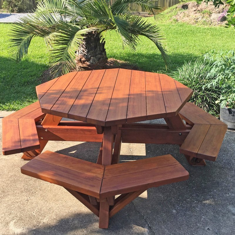 Octagonal Picnic Table (Options: 5' Diameter Tabletop, Attached Benches, Old-Growth Redwood, Standard Tabletop, Rounded Corners, No Umbrella Hole, Transparent Premium Sealant). Photo Courtesy of M. Gautier of Ocean Springs, MS.