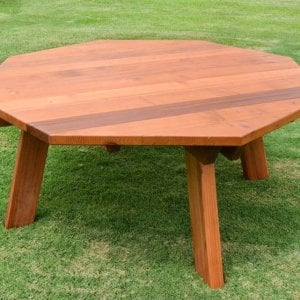 Octagonal Picnic Table (Options: 6' Diameter Tabletop, No Seating, Redwood, Standard Tabletop, Rounded Corners, No Umbrella Hole, Transparent Premium Sealant).