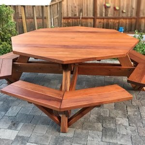 "Octagonal Picnic Table (Options: 6' Diameter Tabletop, Attached Benches, Redwood, Standard Tabletop, Slightly Rounded Corners, 1 5/8"" Umbrella Hole, Transparent Premium Sealant). Photo Courtesy of N. Sofia of Pacifica, CA."
