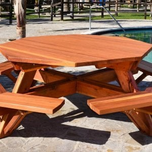 Octagonal Picnic Table (Options: 6' Diameter Tabletop, Attached Benches, Mature Redwood, Standard Tabletop, Rounded Corners, No Umbrella Hole, Transparent Premium Sealant).