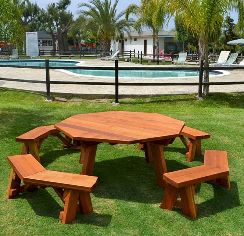 Octagonal Picnic Table (Options: 6' Diameter Tabletop, Unattached Benches, Redwood, Standard Tabletop, Rounded Corners, No Umbrella Hole, Transparent Premium Sealant).