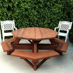 Octagonal Picnic Table (Options: 5' Diameter Tabletop, Attached Benches, Old-Growth Redwood, Standard Tabletop, Rounded Corners, No Umbrella Hole, Transparent Premium Sealant).