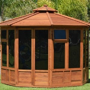 "Octagonal Sunroom Gazebo (Options: 11'-6"", Deck, Mature Redwood, 24"" H Siding Below Windows, 3 Window Panels, 2 Sets of Doors, Transparent Premium Sealant)."