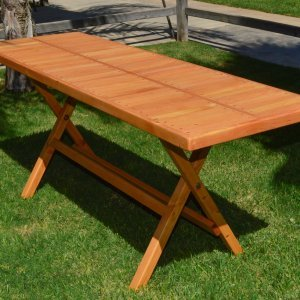 "Rectangular Folding Table (Options: 72"" L, 24'' W, No Seating, Douglas-fir, Seamless Tabletop, Boards Laid in the Same Direction, Squared Corners, No Umbrella Hole, Transparent Premium Sealant)."