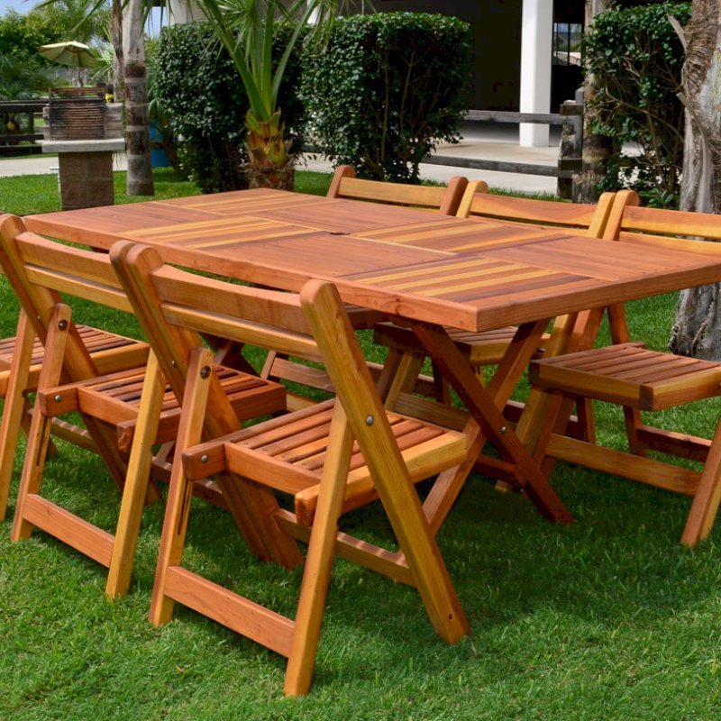 """Rectangular Folding Table (Options: 72"""" L, 35'' W, 6 Chairs, California Redwood, Standard Tabletop, Checkerboard Design Tabletop, Rounded Corners, Umbrella Hole (Umbrella not included), Transparent Premium Sealant). Photo Courtesy of El Laurel Resort of Baja, Mexico."""