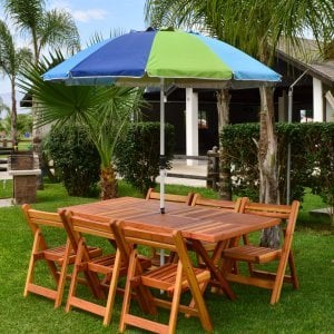 "Rectangular Folding Table (Options: 72"" L, 35'' W, 6 Chairs, Redwood, Standard Tabletop, Checkerboard Design Tabletop, Rounded Corners, Umbrella Hole (Umbrella not included), Transparent Premium Sealant). Photo Courtesy of El Laurel Resort of Baja, Mexico."