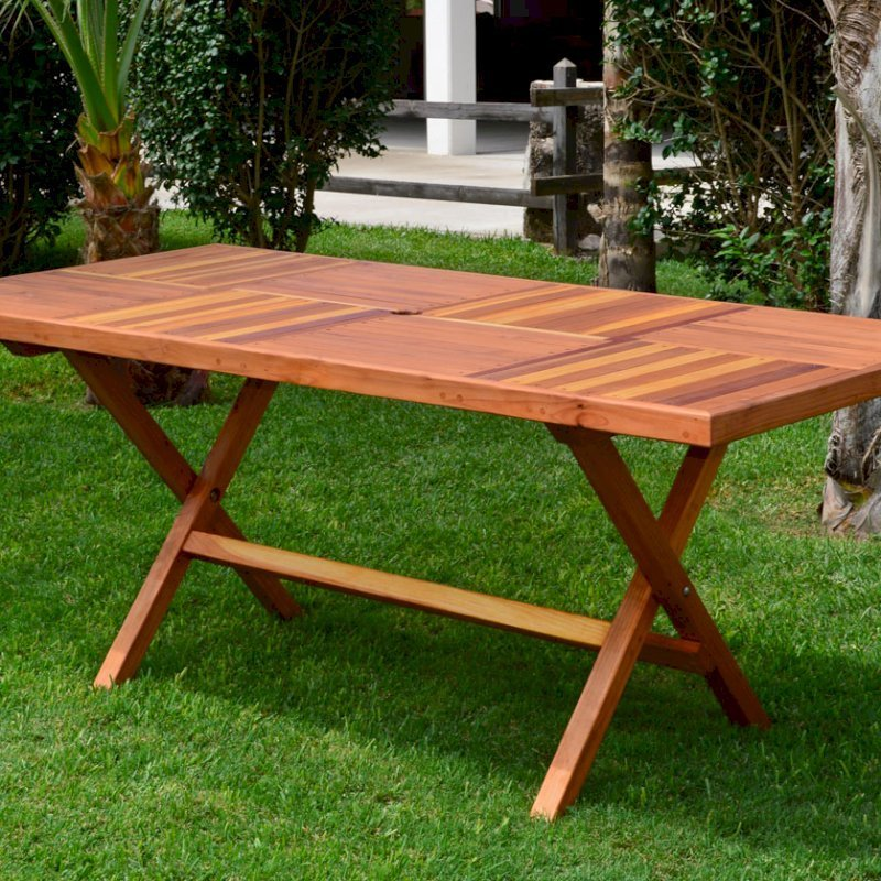 """Rectangular Folding Table (Options: 72"""" L, 35'' W, No Seating, Redwood, Standard Tabletop, Checkerboard Design Tabletop, Rounded Corners, Umbrella Hole (Umbrella not included), Transparent Premium Sealant). Photo Courtesy of El Laurel Resort of Baja, Mexico."""