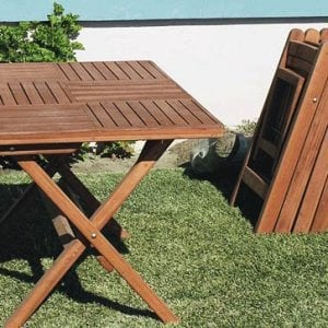 "Stackable space saving folding chairs - Rectangular Folding Table (Options: 52.5"" L, 4 Folding Chairs, 35"" W, Old-Growth Redwood, Standard Tabletop, Checkerboard Design, No Umbrella Hole, Squared Corners, Transparent Premium Sealant)."